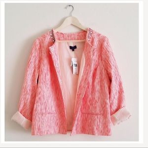 Rhinestone & Gems Accent Tweed Coral Jacket